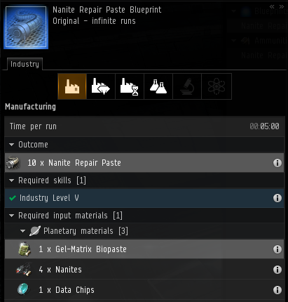 The NRP blueprint shows the required ingredients and skills required to produce the item. Each run produces 10 units of NRP.