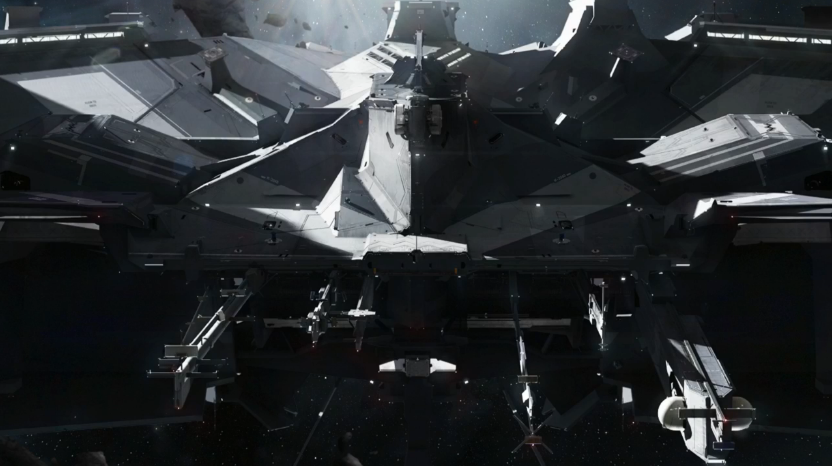 Concept art of a head-on view of the new Blackbird ship skin - angular and bristling with antennae.