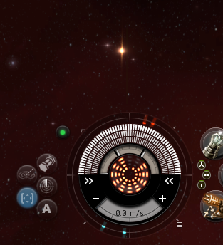"To find ""The Big One"", undock, get somewhere safe, and then find the pointy caret symbol ^ on the compass in your Heads Up Display (a.k.a., the ""doughnut""). When that caret is pointing up, you are looking ""north"" on the New Eden star map (press F10 to see the star map). Left-click and drag with your mouse to turn your view to the northeast, as shown above. You'll see a very bright star with a vertical flare."