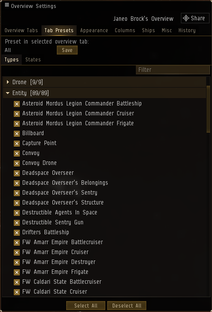"Warning! If you intend to investigate an Unidentified Wormhole, make sure you have selected ""Drifters Battleship"" and ""Roaming Sleeper Cruiser"" on your overview settings, under the Entity category - or else, they will not appear on your overview!"