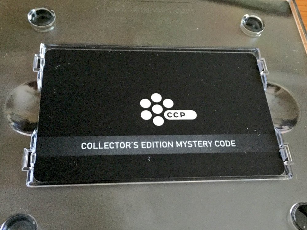 My EVE Online Collector's Edition Mystery Code - stored carefully for future use over the next decade.