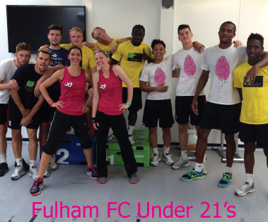 Fi and Dom teaching the Fulham under 21 team zumba!