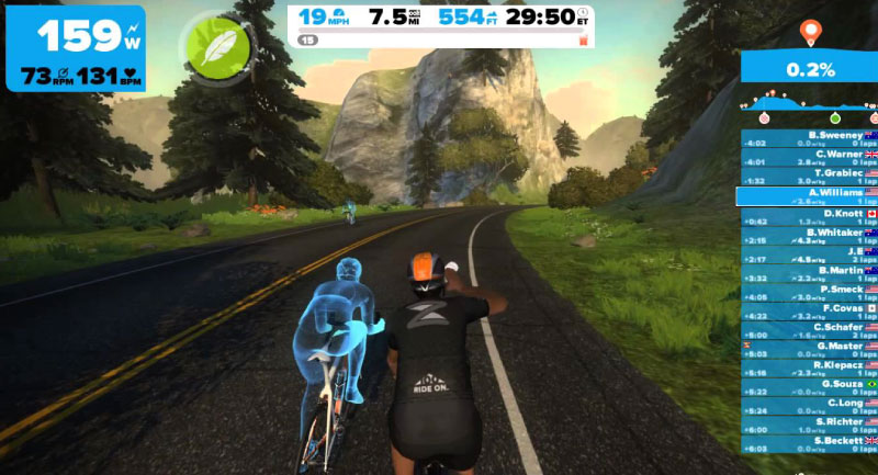 Cycle training programme Zwift allows riders from across the globe to train 'together' in real-time