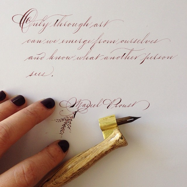calligraphyandcupcakes: Marcel Proust | Spencerian script. (And yes, the ink matches my nails 😉✒️💅)