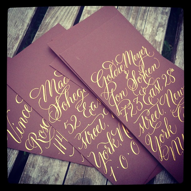 Fall colors already!  Have had fun with these. #goldink #calligraphy  (à Studio French Blue )