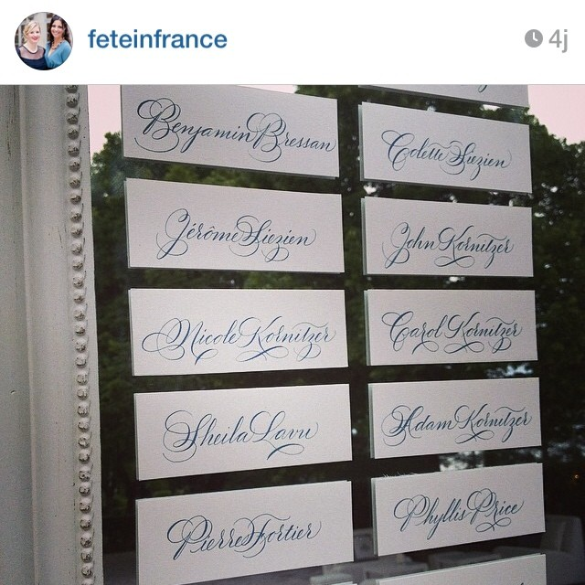 Regram from Fête in France. Lovely wedding in Provence last weekend. Calligraphy by yours truly. ☺️