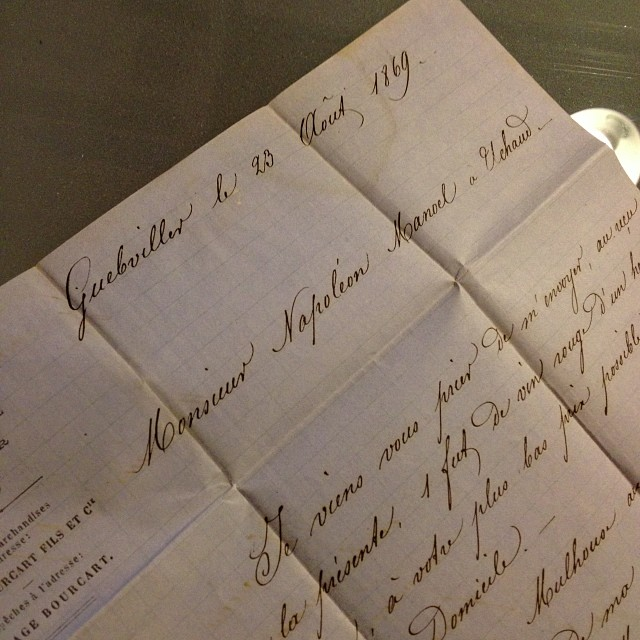 Beautiful penmanship. Picked up this letter today for a song!  1869. This gentleman, Monsieur Bourcart, is writing to order a case of red wine from Monsieur Napoléon in Uchaud.  (à Studio French Blue )