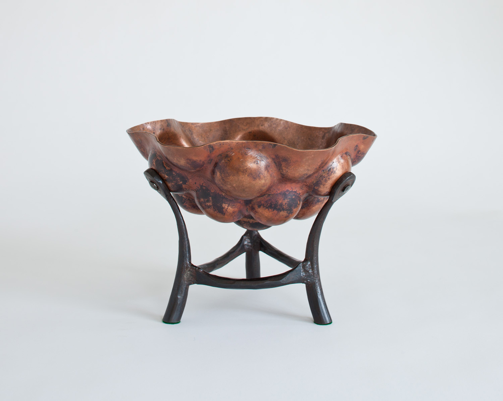 Copper Bowl with Tripodal Base