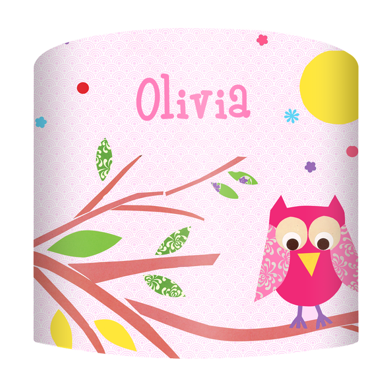 mod owls on branch pink personalised lamp shade