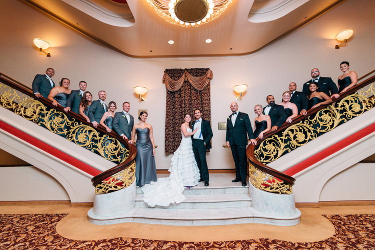 bridal party on valentine theatre staircase