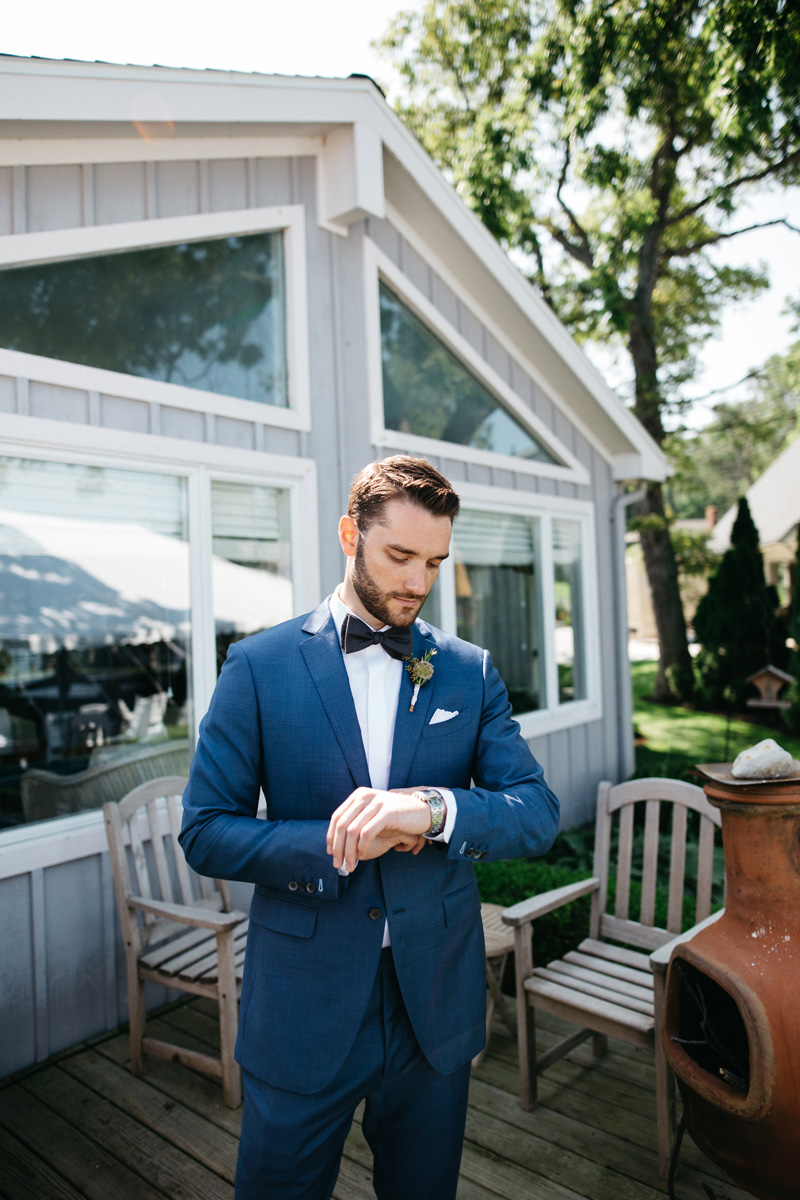 Groom in Jet Blue Suit