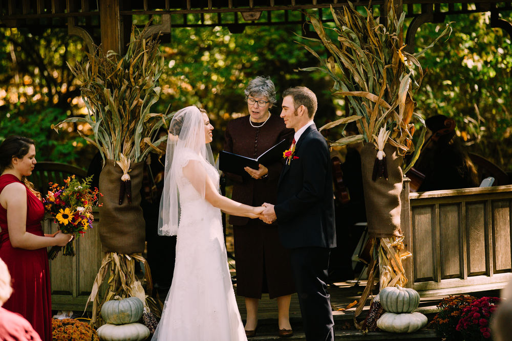Outdoor wedding ceremony at Wildwood Metropark in October