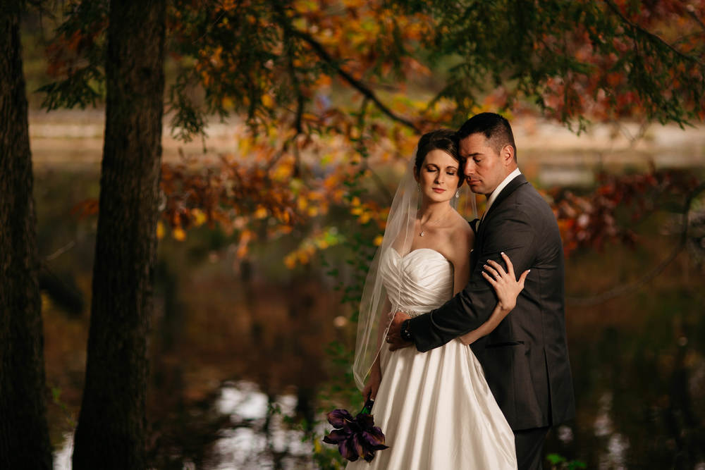 Bride and groom portraits at Oak Openings in October