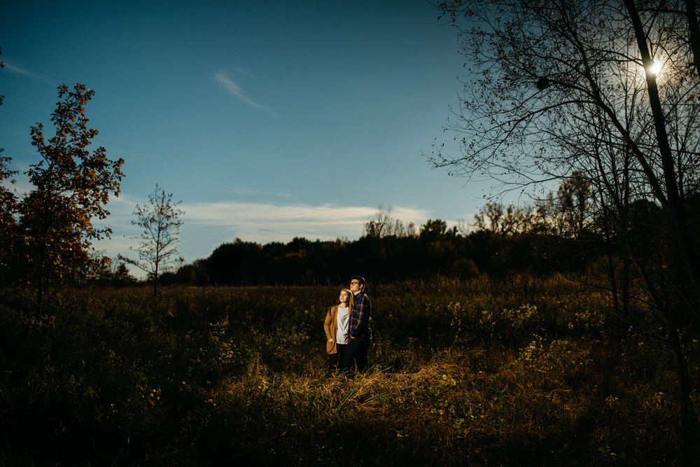 October engagement session at sunset