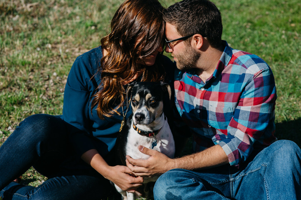 Couples dog takes part in engagement session in Huron, Ohio.