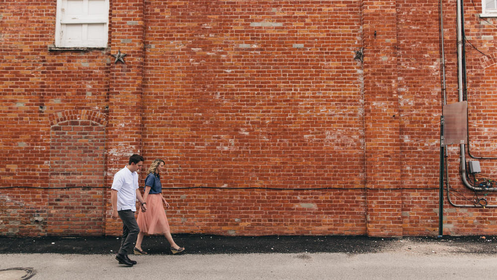 Spring engagement session in downtown area Ohio.