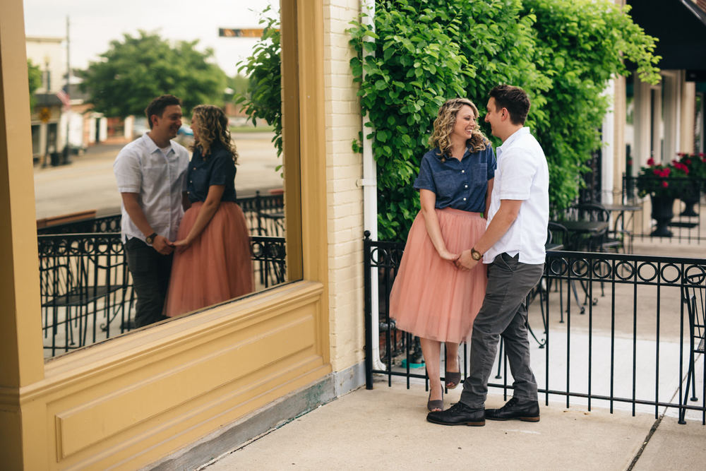 Stylish engagement session with tulle skirt in Northwest Ohio.