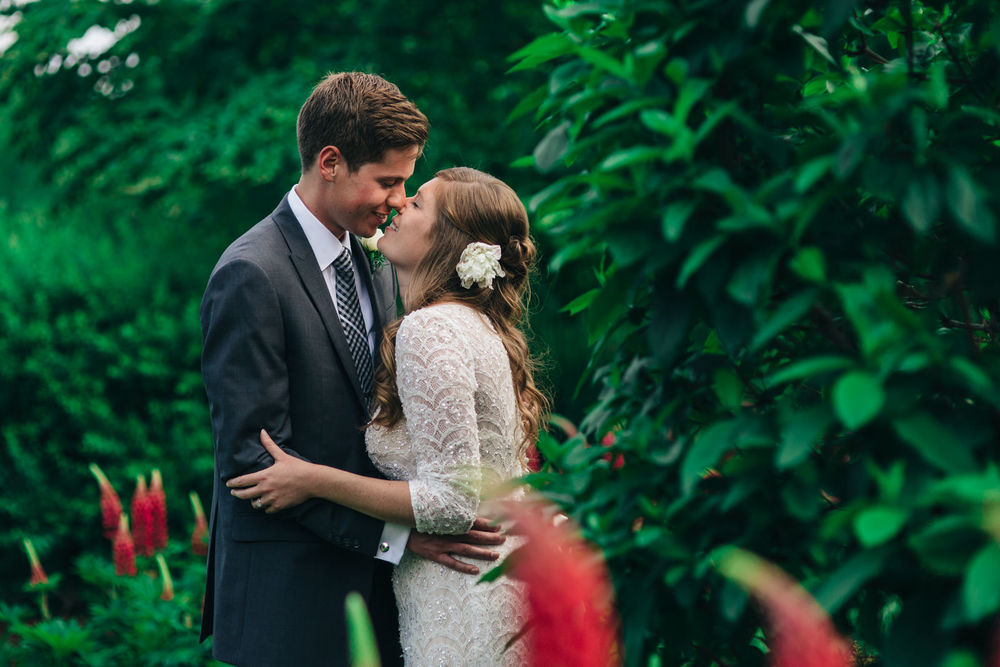 Bride and groom portraits during summer wedding at Quailcrest Farm.