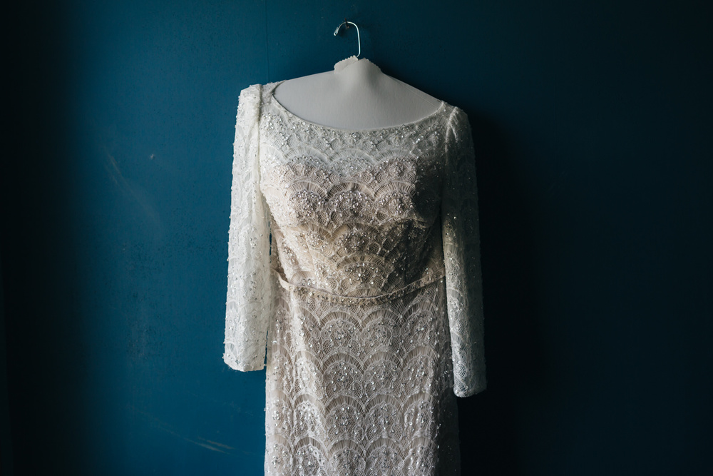 Vintage lace wedding dress for summer wedding in Wooster, Ohio.