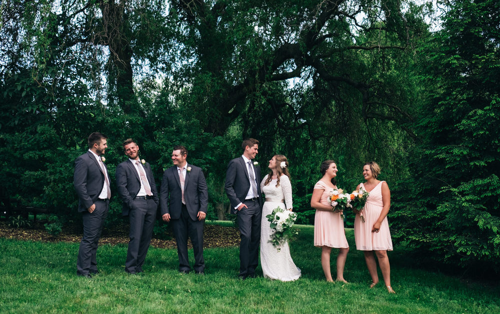 Bridal party portrait at outdoor wedding in Wooster, Ohio.