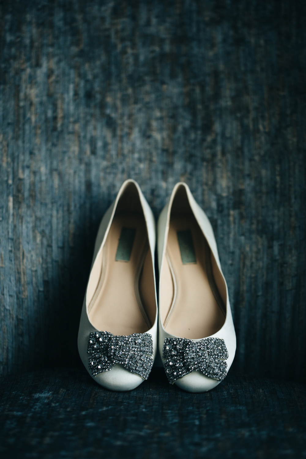 Beautiful bridal shoes on wedding day.