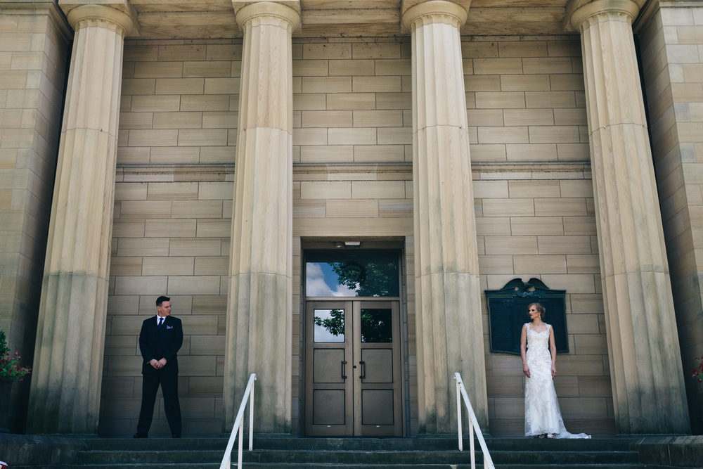 Wedding photography of bride and groom at Hayes Presidential Center.