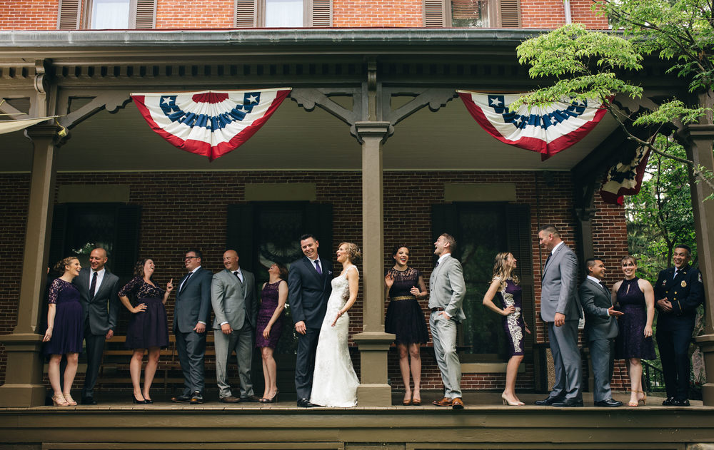 Bridal party wedding photography at Hayes Presidential Center.