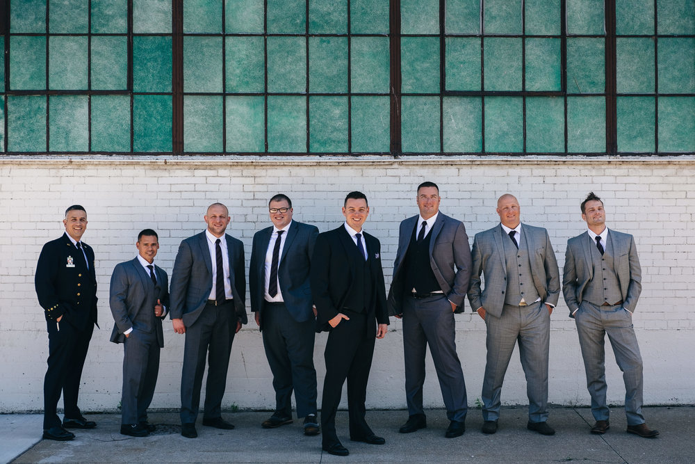 Groomsmen in grey suits in Sandusky, Ohio.