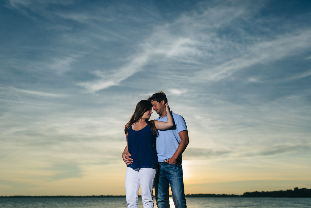 Lake Erie Engagement session at sunset in Monroe, Michigan.