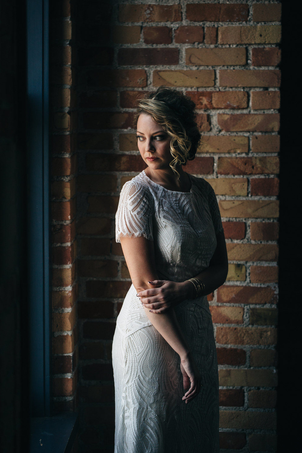 Bridal portrait at Hensville in Downtown Toledo, Ohio.