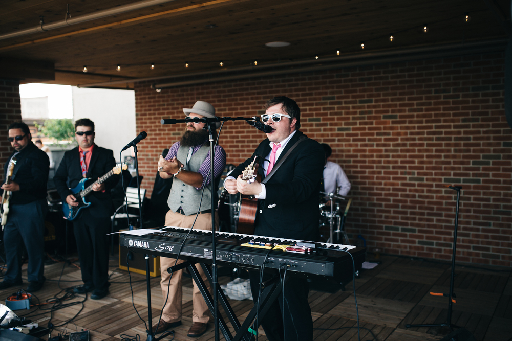 Toledo wedding band, Nine LIves, plays at Hensville wedding reception.