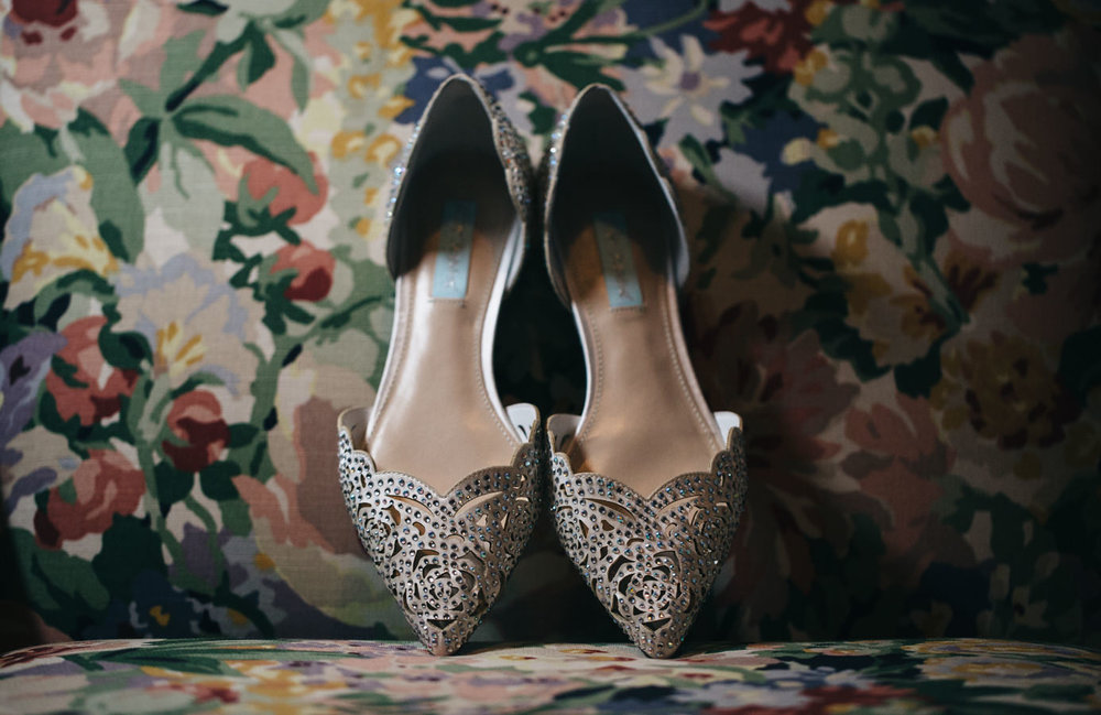 Flat wedding shoes with beautiful gem details