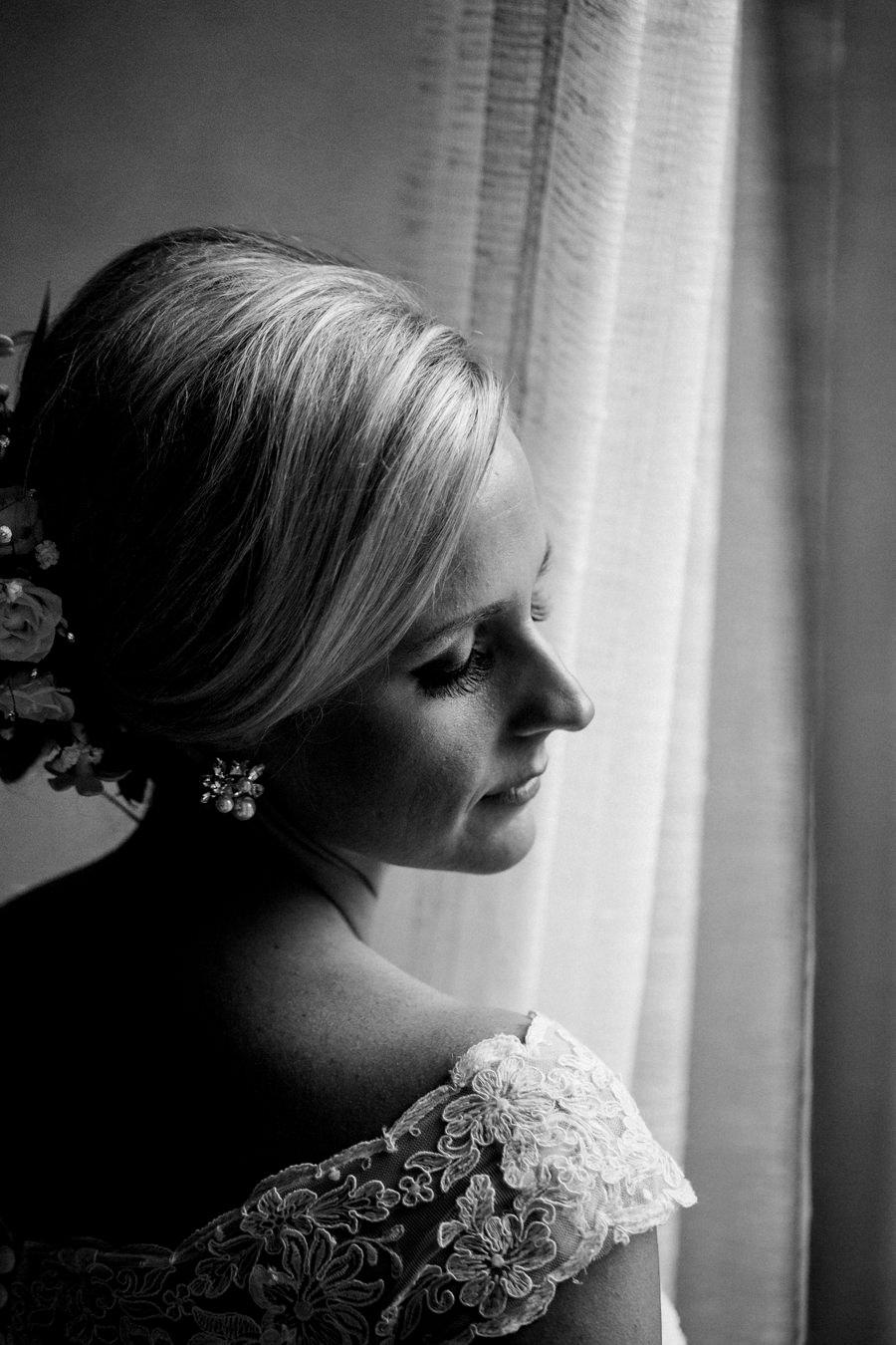 Black and white portrait of bride.