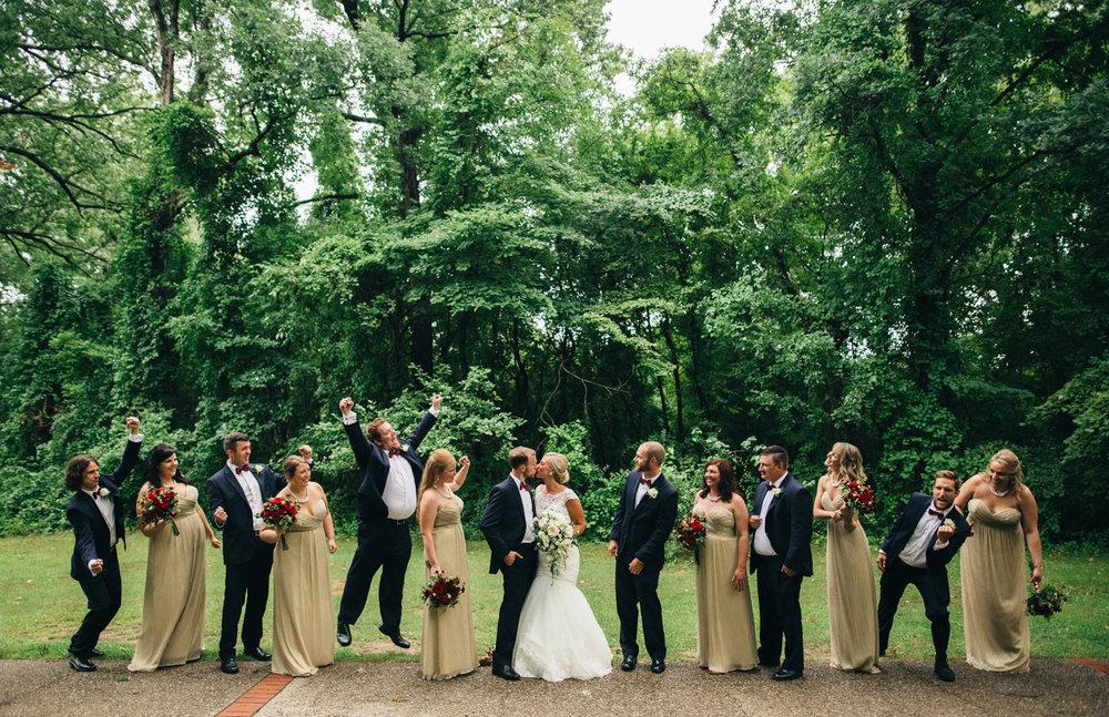 Fun bridal party portrait at Wildwood Metropark in Toledo, Ohio.