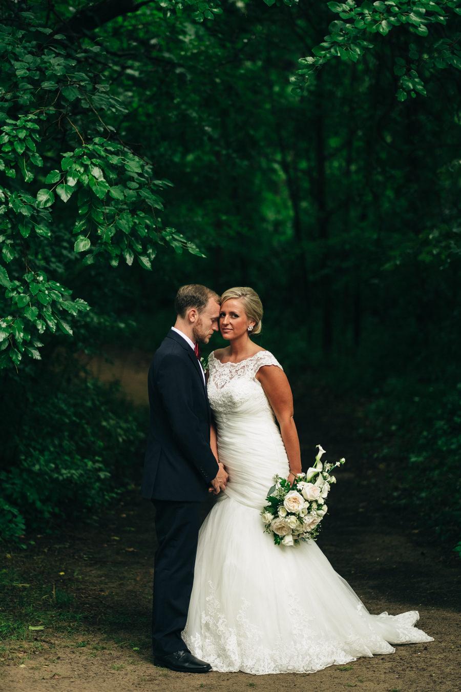 Bride and groom portrait at Wildwood Metropark In Toledo, Ohio.