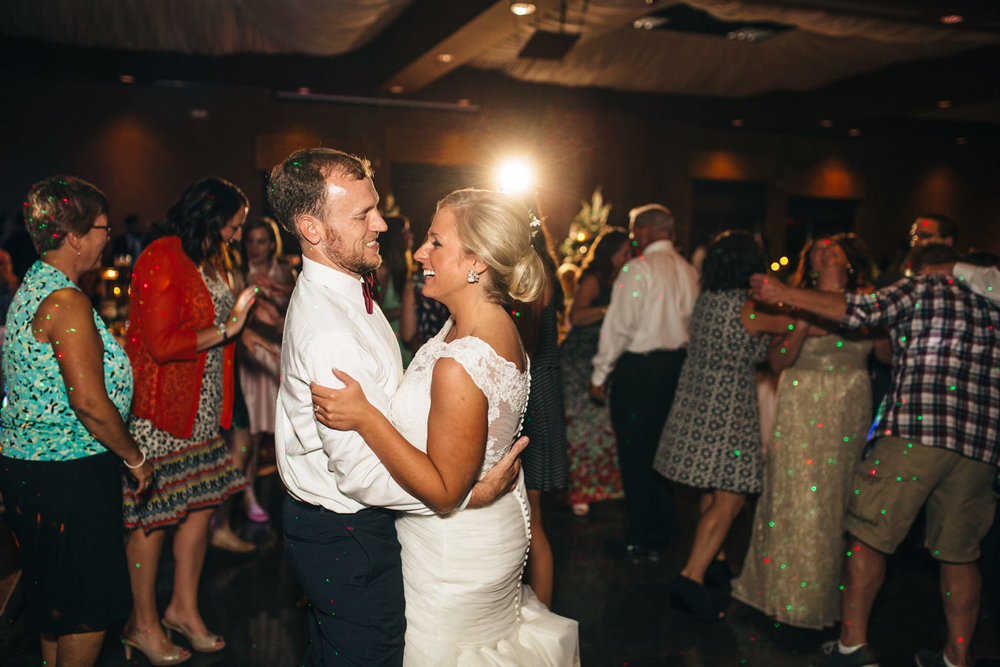 Bride and groom dancing at their wedding reception in Toledo, Ohio