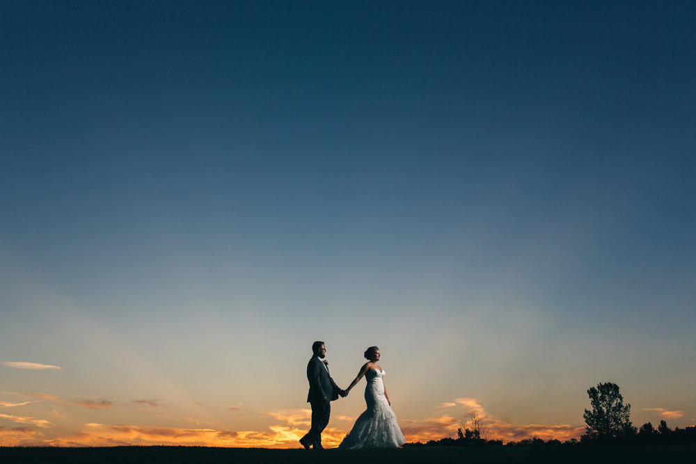 Sunset wedding photography at Stone Ridge Golf Club
