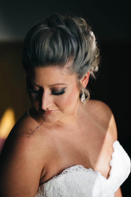 Wedding photography of bride on wedding day.