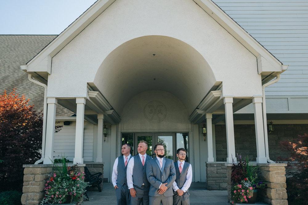 Groomsmen in wedding at Stone Ridge Golf Club in Bowling Green, Ohio.