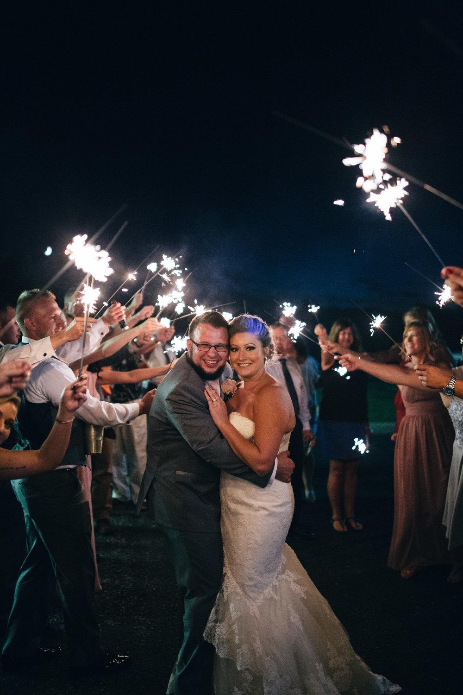 Sparkler exit at wedding reception