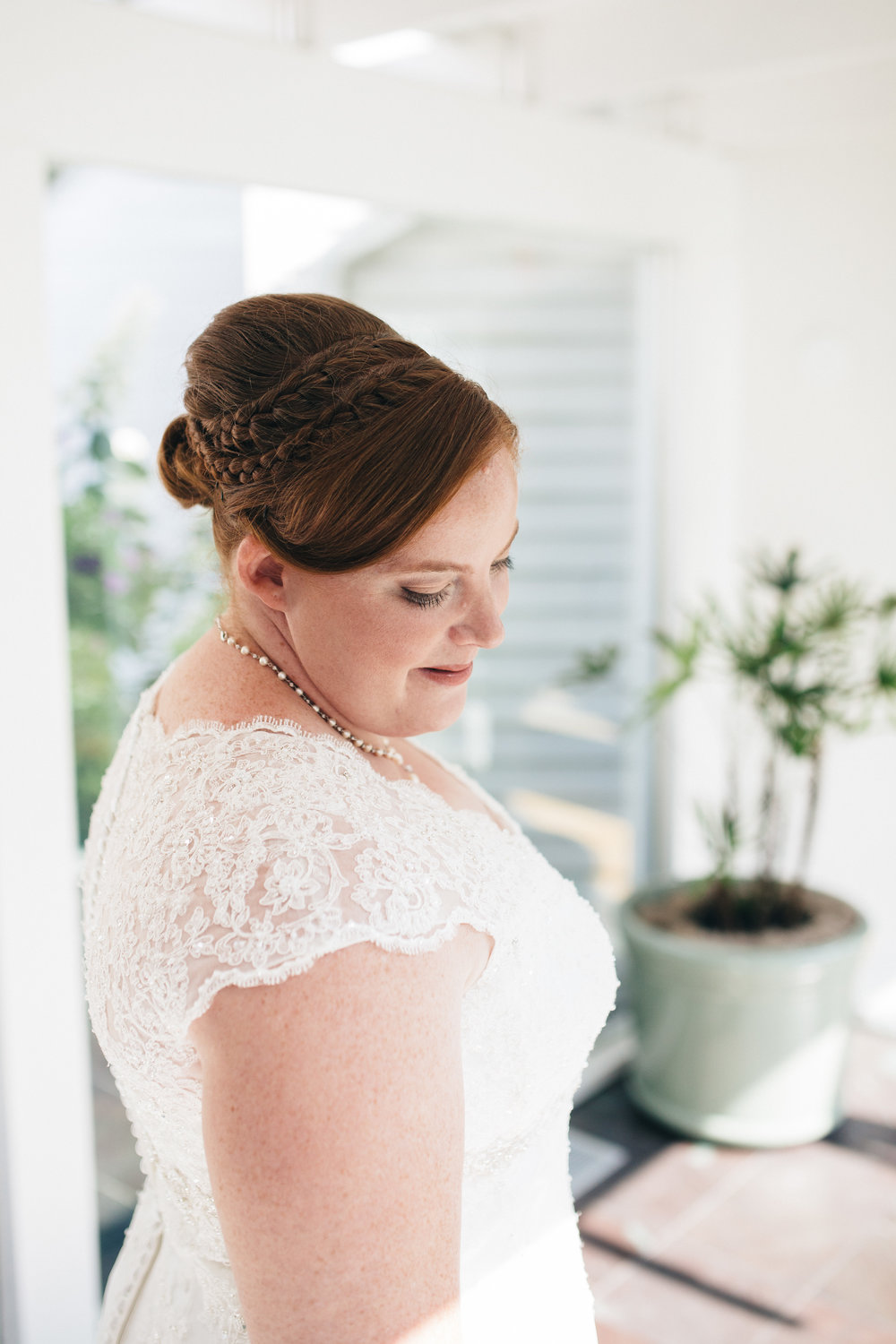 Bridal portrait in lace dress at Walden Inn & Spa Wedding.