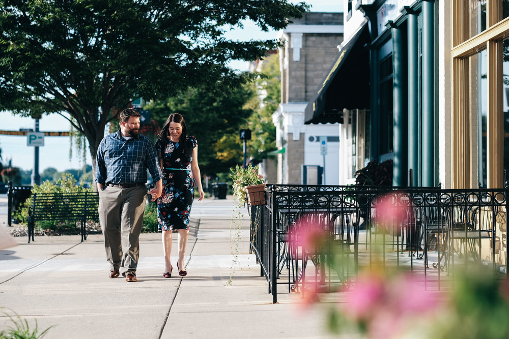 Engagement session in downtown Perrysburg, Ohio.
