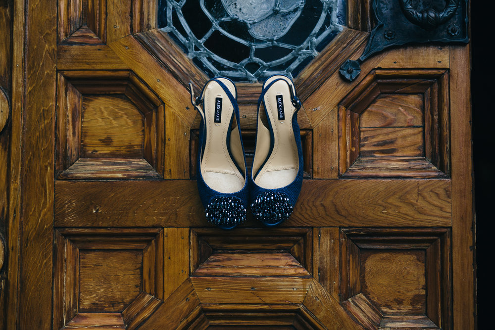 Navy blue wedding shoes from Alex Marie.