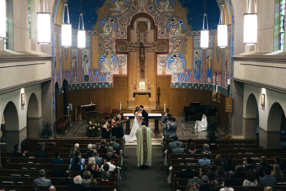 Wedding ceremony at St.Aloysius Catholic Church in Bowling Green, Ohio.