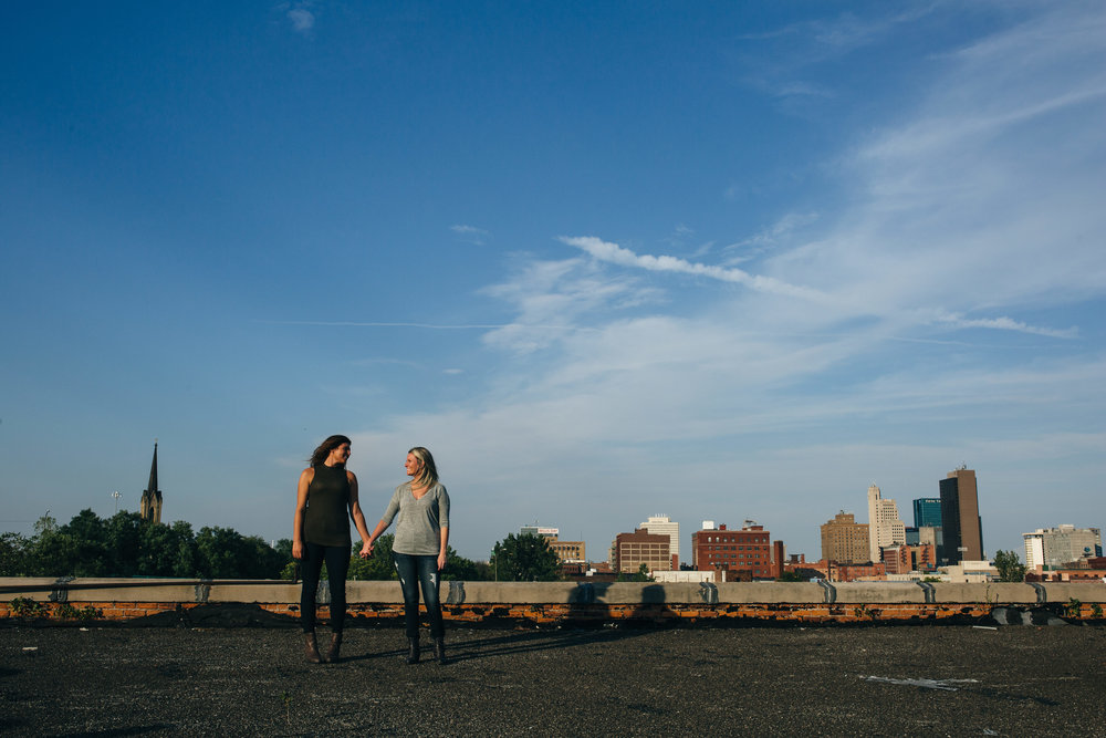 Rooftop engagement session in downtown Toledo