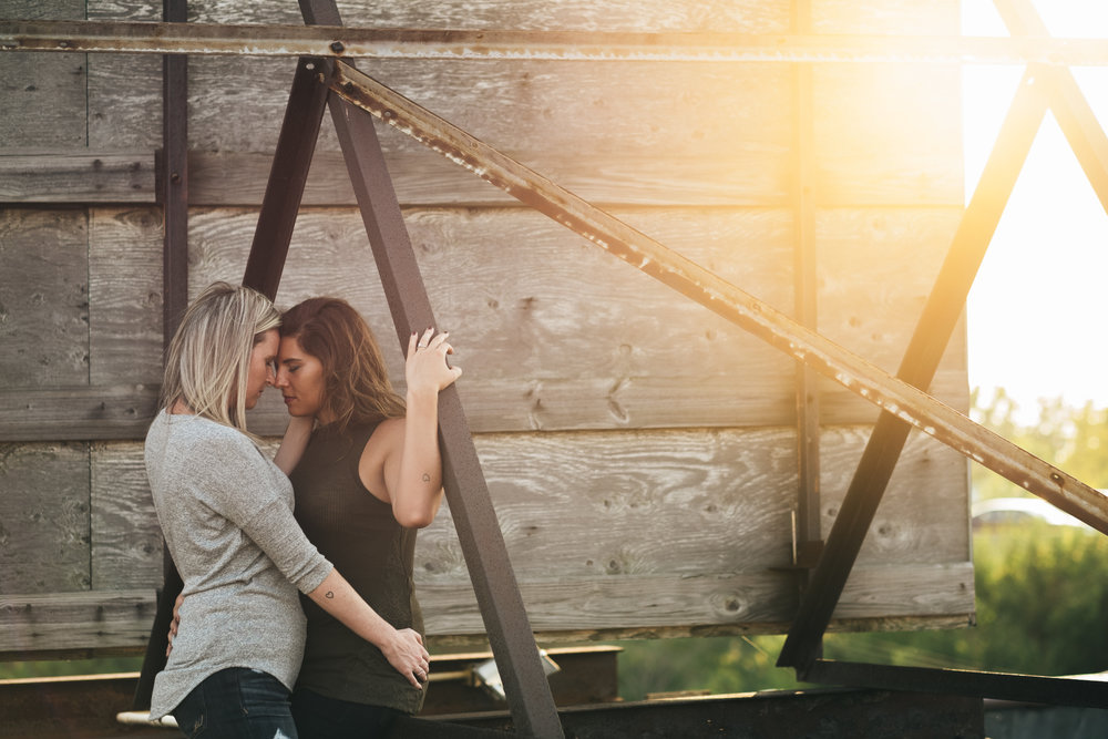 Sunset engagement session on rooftop in Toledo, Ohio.