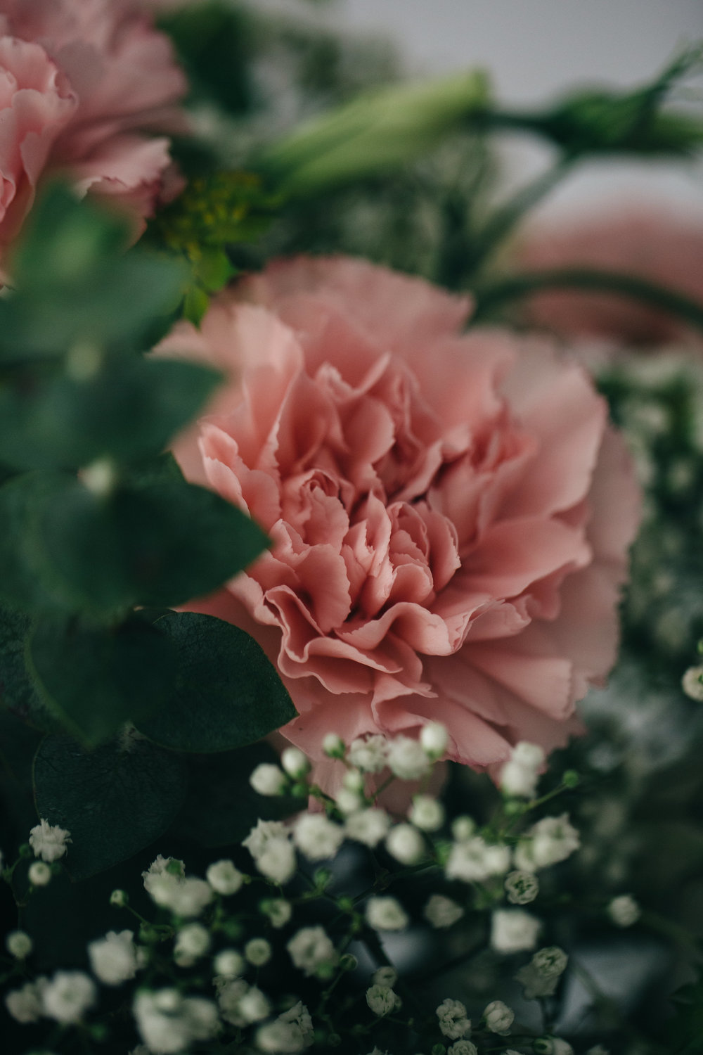 Pink carnation wedding floral with baby's breathe