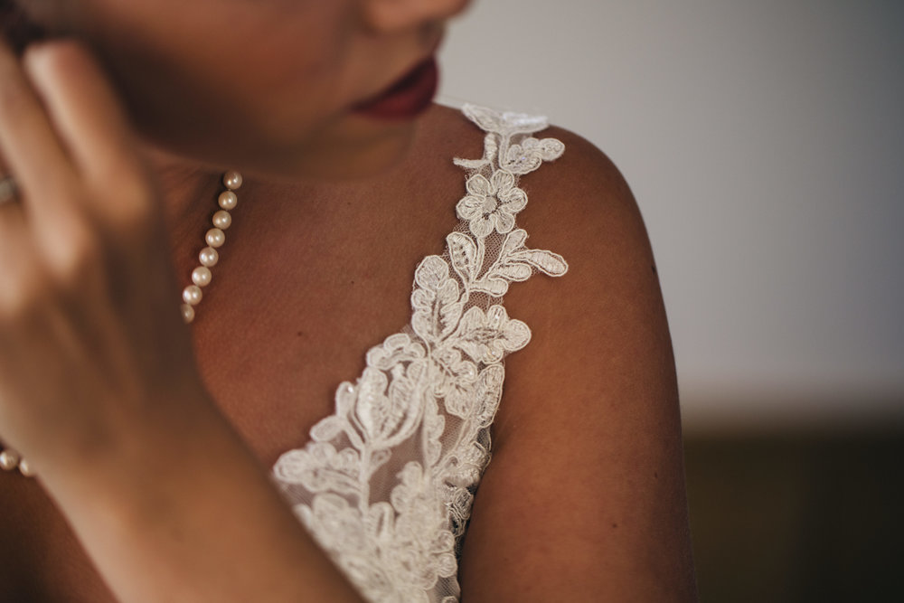 Lace wedding dress detail photography