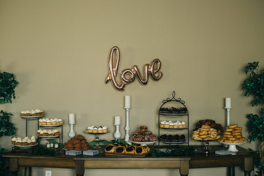 Dessert table at Highland Meadows wedding reception.
