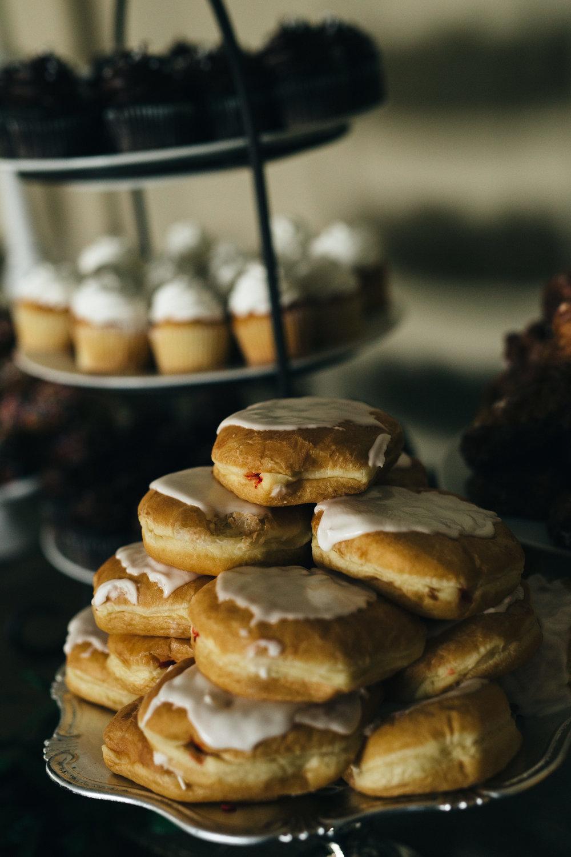 Doughnut dessert at wedding reception in Toledo, Ohio.